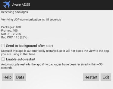 ADSB app Main Screen